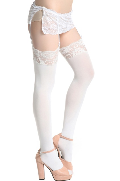 #Romwe Pure White Suspender Tights