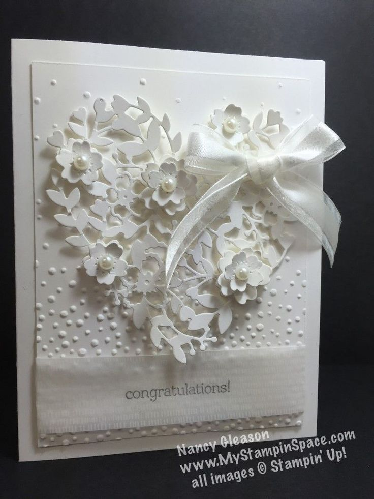 Bloomin Hearts thinlits die, heart, bridal, white on white, Nancy Gleason, My Stampin Space, Botanical Gardens designer vellum