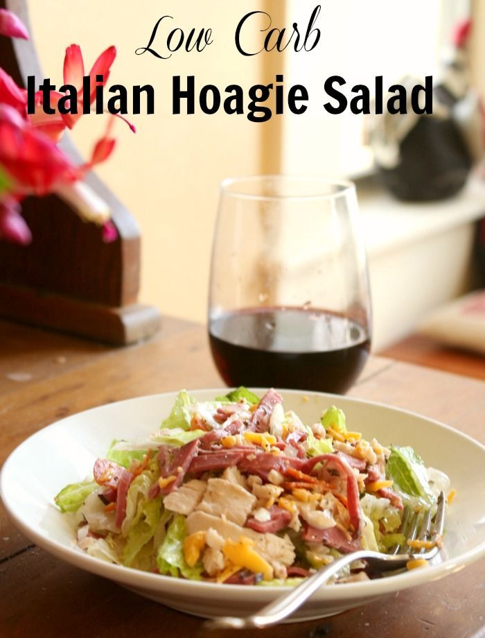 low carb italian salad with  lots of protein and very few carbs -quick and easy meals from http://lowcarb-ology.com