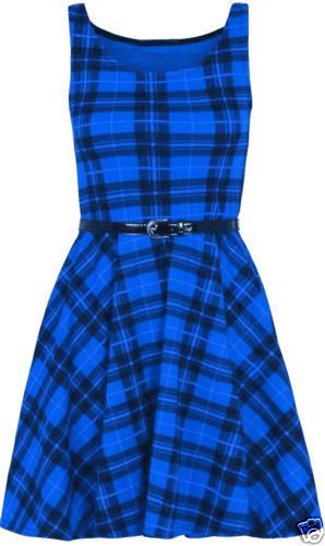 New-Womens-Sleeveless-Belted-Tartan-Skater-Flared-Dress-Check-Print-Top-UK-8-26