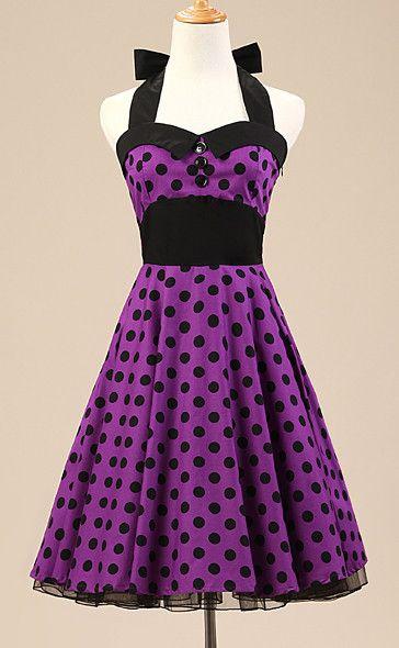 Purple Polka Dot Vintage Dress