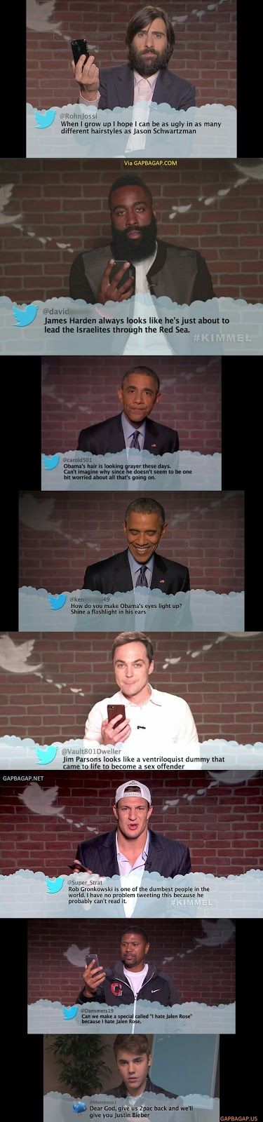 Hilarious Mean Tweets Collection About Celebs