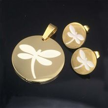 Gold Exclusive dragonfly Necklace Pendant With Earrings Jewelry Sets Made Of Unfading 316L Stainless Steel With Chain Gifts //FREE Shipping Worldwide //