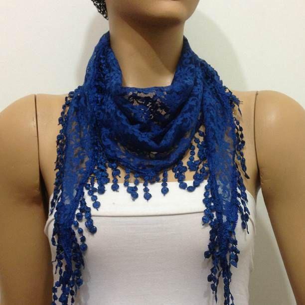 COBALT BLUE Lace scarf with lace fringe -  Elegant INDIGO Scarf by istanbuloya on Etsy