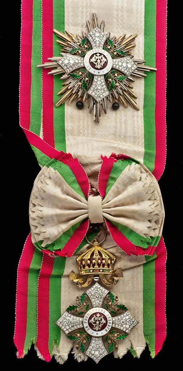 Kingdom of Bulgaria, a Grand Cross set of Insignia of the Order of National Merit, Civil Division, enhanced with 228 Diamonds (Spink Auction: 16002 - Orders, Decorations, Campaign Medals and Militaria, Lot: 135)
