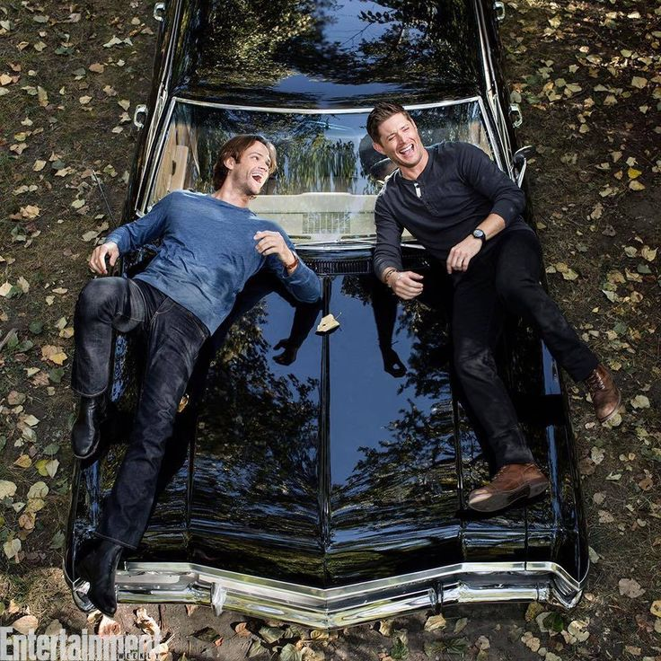 Great behind the scenes photo of Jared Padalecki and Jensen Ackles from the EW cover shoot