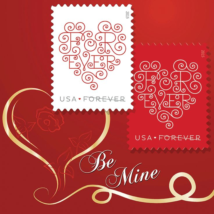 "For February enjoy the ""Forever Hearts"" as your computers wallpaper image. See this and the many other stamp fun wallpapers available from the American Philatelic Society (www.stamps.org)"