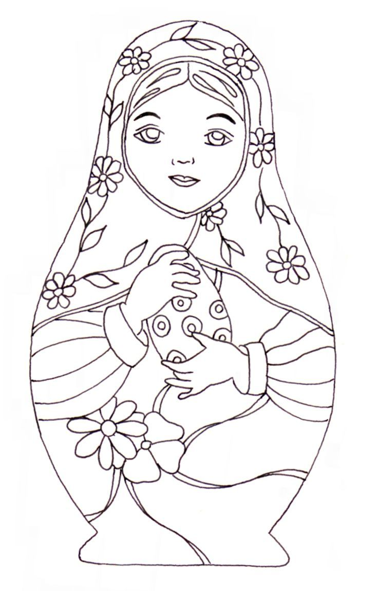Free spring coloring pages for adults - Matryoshka A Colouring Page To Use For A Rainy Spring Day Or To Use As Decoration At An Easter Egg Hunt Party