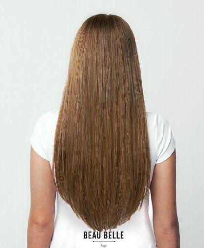 s-noilite®Dick Dopplet Tressen 8 Clip in 100% Remy Echthaar Haarverlaengerung für komplette 55cm lange glätten Mittelbraun #4