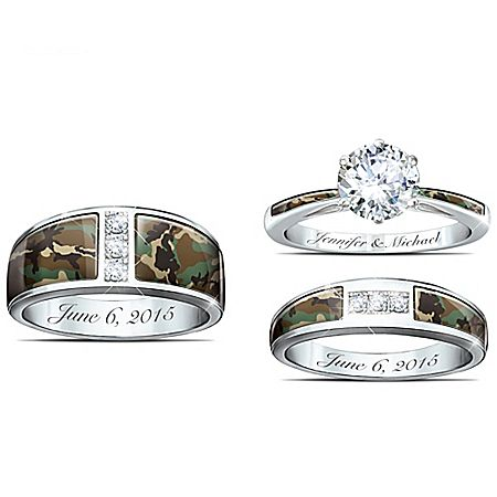 Camo His And Hers Personalized Diamonesk Wedding Ring Set Products