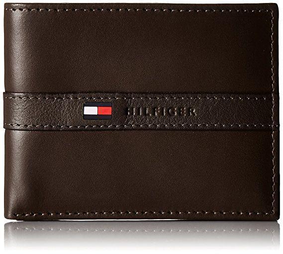 Tommy Hilfiger Men/'s Passcase Billfold Genuine Black Leather Bi-Fold Wallet