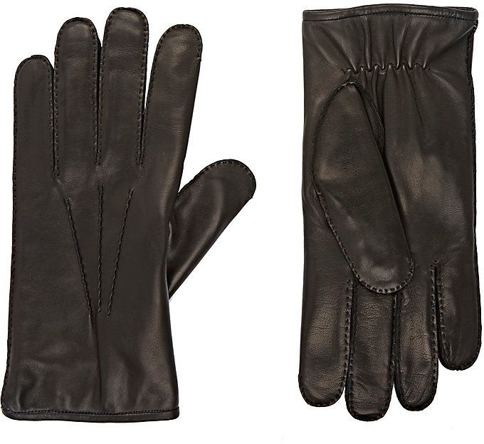 Barneys New York Men's Fur-Lined Leather Gloves-BLACK