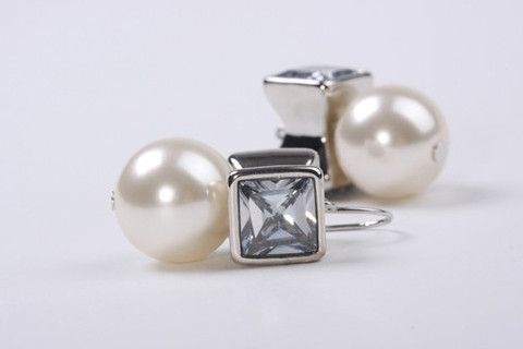 Boho Pearl Earring Silver – Jewel Online 10mm Chunky Acrylic Lustre Pearls with square crystal look bead hook earring. Real Rhodium electroplated over brass. $59.90
