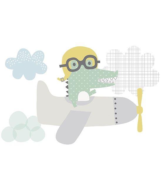 Vinilo infantil bebe cocodrilo aviador