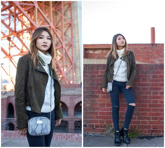 Get this look: http://lb.nu/look/7968398  More looks by Atsuna Matsui: http://lb.nu/atsunamatsui  Items in this look:  Topshop Moto Washed Black Ripped Jamie Jeans, Lamoda101 Olive Faux Suede Moto Jacket, Michael Kors Jet Set Crossbody   #casual #chic #street #staywarmlb #python #michaelkors #jet #set #lamoda101