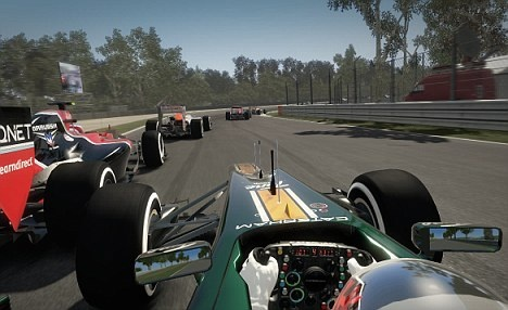 This is a heads up display from the game F1 2012. Very realistic graphics from the driver seat.