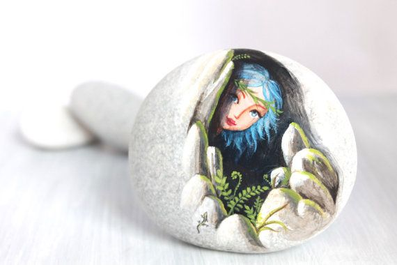 Painted stone. Express Free shipping Little elf sprite of
