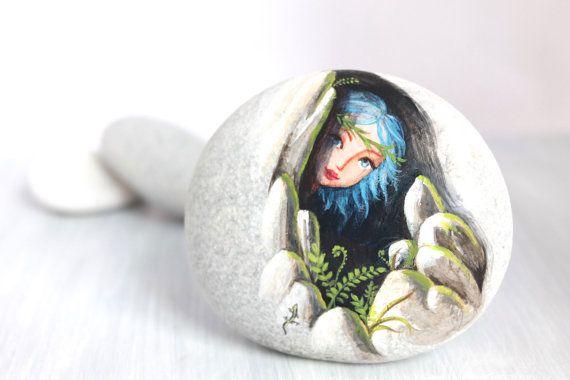 Piedra pintada. Expresa libre envío poco elf sprite por sabiesabi