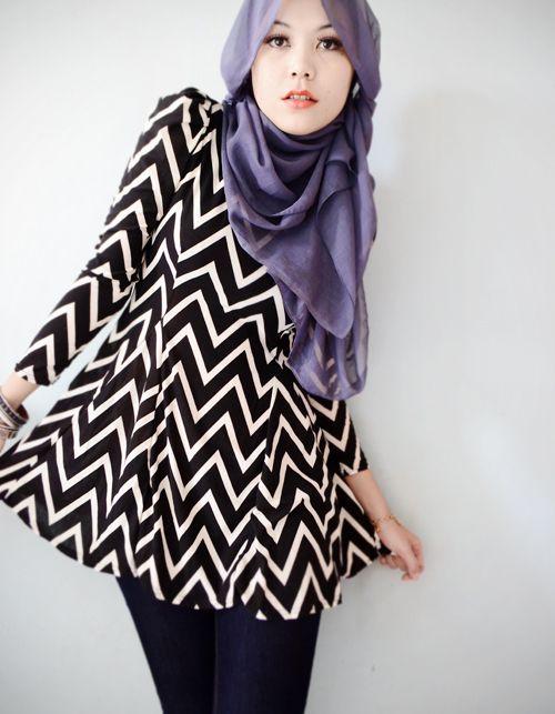 stripe black - hijab style