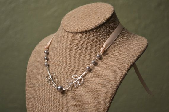 Rowen Beautiful Gray Pearls and Leaf Branches by LittleMaeDesigns, $18.00 Would get with ivory for flower girl.