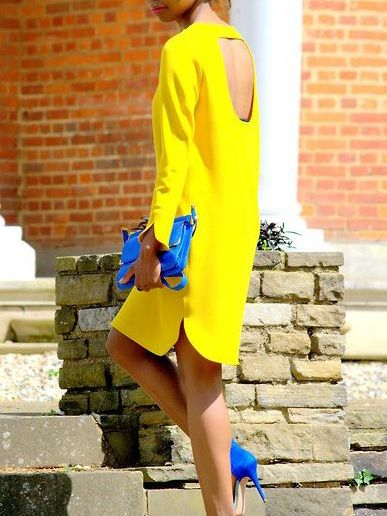Yellow+Long+Sleeve+Backless+Loose+Dress+14.08