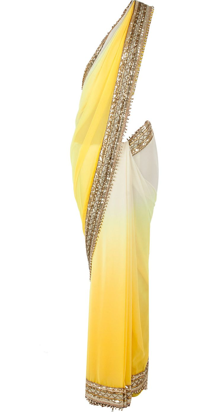 Yellow ombre sari with sequinned blouse available only at Pernia's Pop-Up Shop.