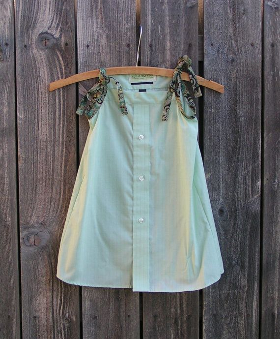 Upcycled Girls Sundress from Mens Shirt Mint Green