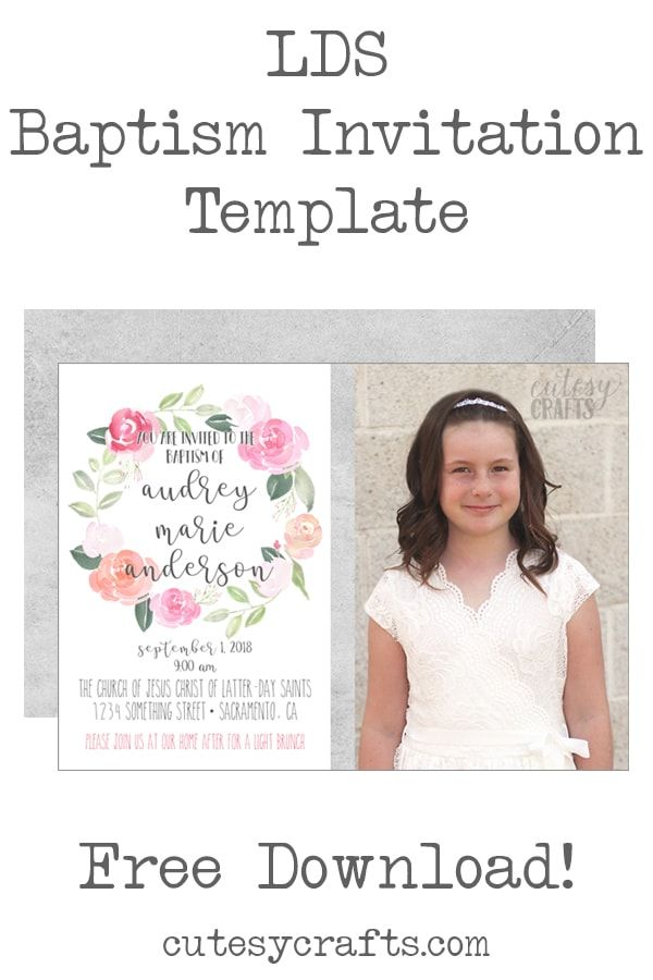 Free Lds Baptism Invitation Template 3 Crafty Creations 3