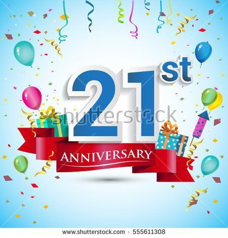 21st Anniversary Celebration Design, with gift box and balloons, Red ribbon, Colorful Vector template elements for your twenty one years birthday celebration party.