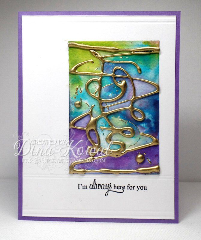This is my sample for the Hot Glue Embossing tutorial - you can find all the instructions [url=http://www.splitcoaststampers.com/resources/tutorials/hotglueembossing/]HERE![/url] More details, closeups and links on my blog [url=http://mamadinis.blogspot.com/2015/10/splitcoast-tutorial-hot-glue-embossing.html]HERE.[/url] The focal panel is done with hot glue, embossing powder, and reinkers.