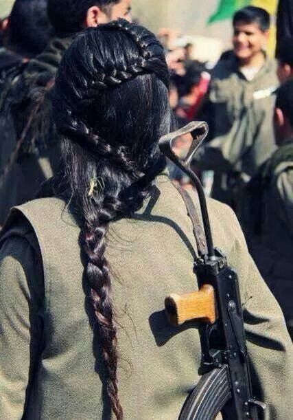 Warrior Braid - what she is doing is more important than her hair , but what an amazing braid - Kurdish women fighter ( Pkk )