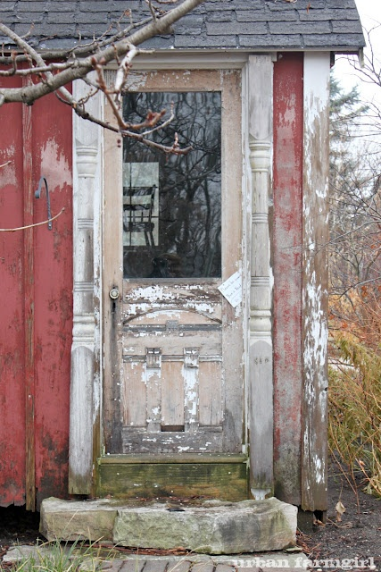 crazy about this door at Northwind Perennial Farm: Stones Step, Chippi Wonder, Porches Posts, Back Doors, Sheds Doors, Barns Doors, Old Doors, Farms Doors, Gardens Sheds