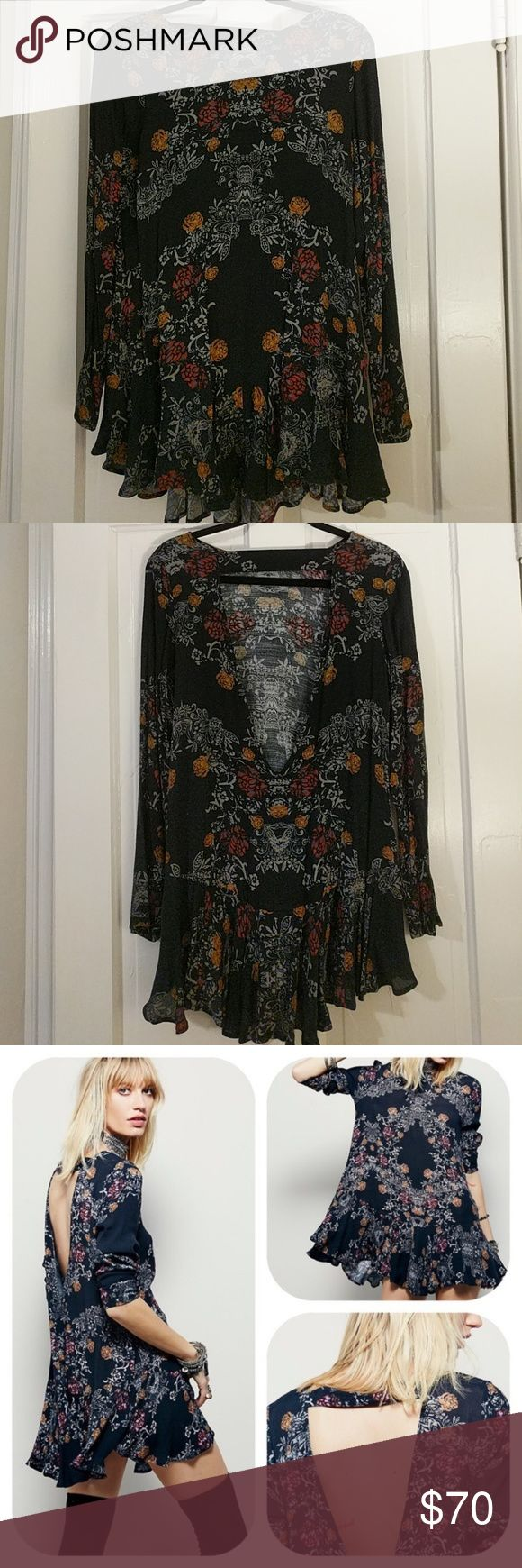 Free People Smooth Talker Tunic Dress Smooth Talker floral tunic dress in Raven. Open v back with strap, ruffled hem. Worn once, perfect condition. Free People Dresses Mini