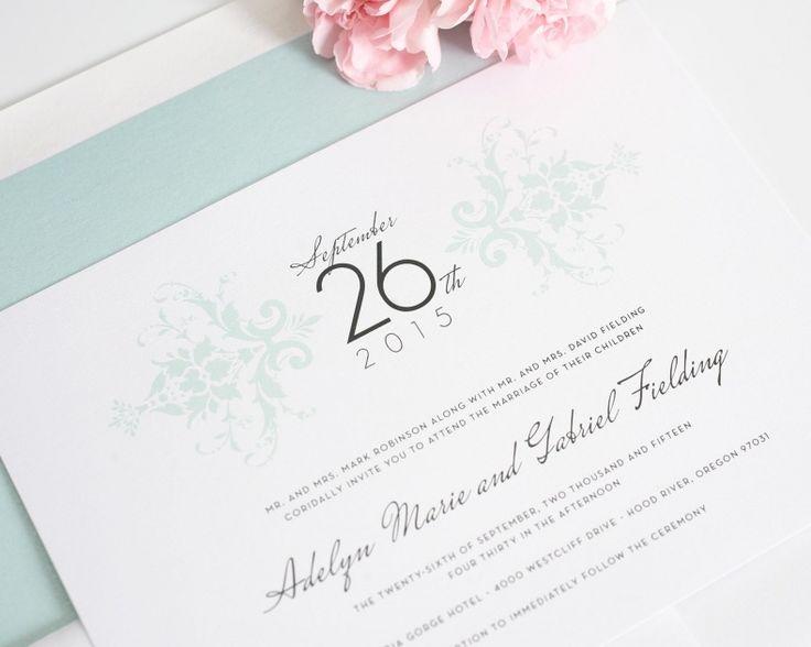 Mint Colored Wedding Invitations