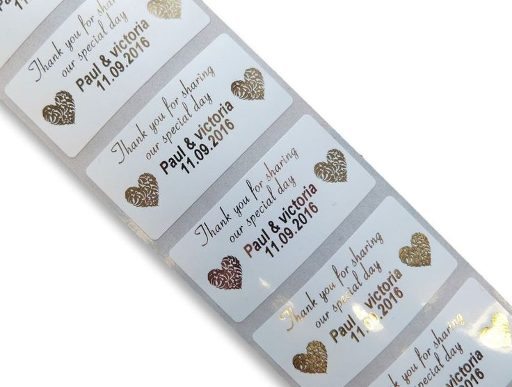 72 Premium Custom Gold 25mmx50mm Personalised Thank You Wedding Stickers Labels