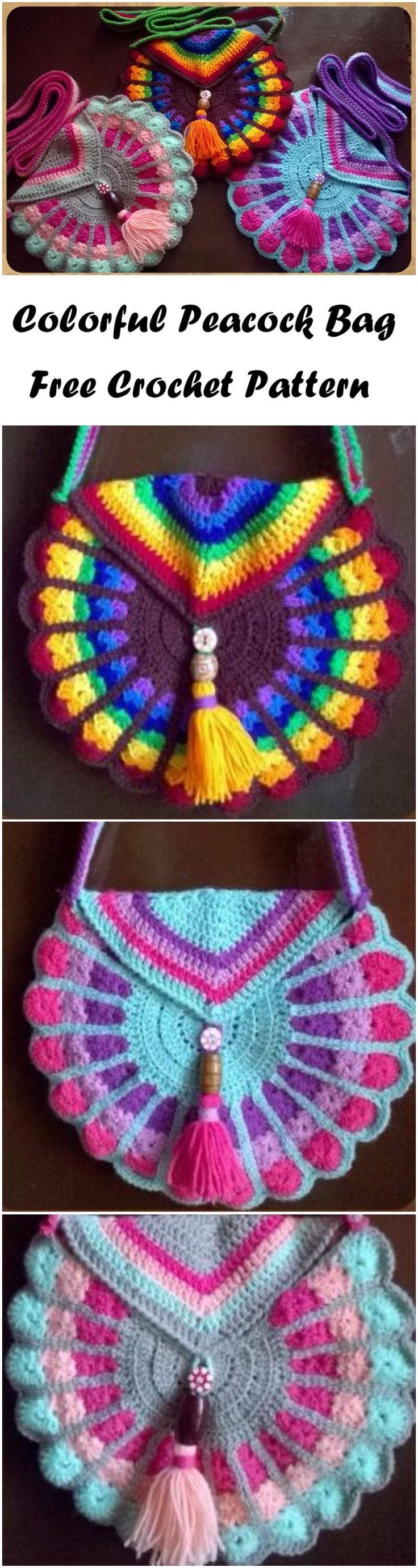 Crochet Colorful Peacock Bag Free pattern