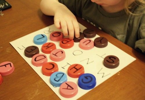 use milk caps for alphabet matching