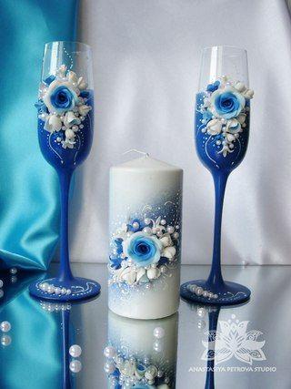 свадебные бокалы и бутылки в бело-голубых тонах - Поиск в Google
