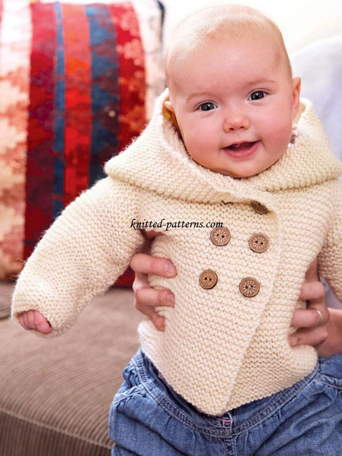 Free knitting pattern for baby jacket with hood in garter stitch and more baby cardigan knitting patterns at http://intheloopknitting.com/free-baby-cardigan-sweater-knitting-patterns/