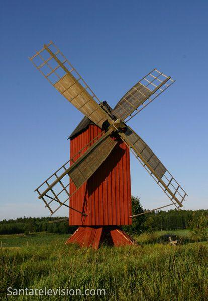 Um moinho de vento nas ilhas Åland, na Finlândia