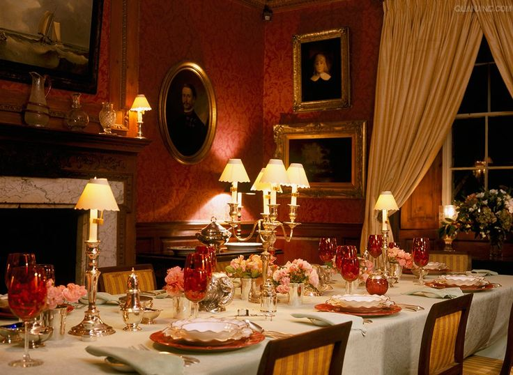 Red English Dining Room At Night English Country House
