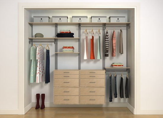 Freedomrail reach in closet 96 in maple design your own for Design your own closet