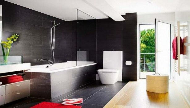 Bathroom Elegant Black Wall Tile Bathroom With Exterior Glass Door Design Mixed And Fancy Sink Cabinet Wonderful Modern Bathroom Tile Ideas That You Feel In Private Heaven