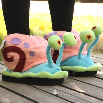 Lovely SpongeBob Snail Fuzzy Slippers SquarePants House Cartoon Snail Bedroom Slippers
