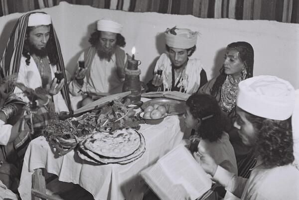 Extraordinary pic of a Yemenite Habani family celebrating Passover in their new home in Tel Aviv in 1946 by Zoltan Kluger