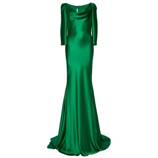 Naeem Khan Silk Satin Cowl Neck Gown (€3.205) ❤ liked on Polyvore featuring dresses, gowns, naeem khan, green, long dresses, green gown, naeem khan dresses, cowl dress, three quarter sleeve dress and cowl neck evening dress