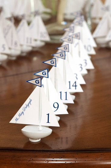 Tiny Boats: Amp up a nautical theme with charming miniature boats as escort cards. Photo by Agnes Lopez Photography via Style Me Pretty