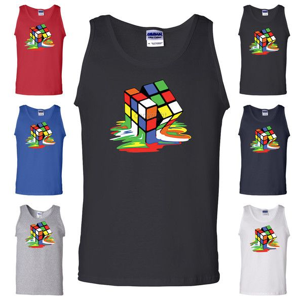 Melting Rubik's Cube Funny Tank Top Big Bang Theory Funny Sheldon Cooper Geek Gym Workout