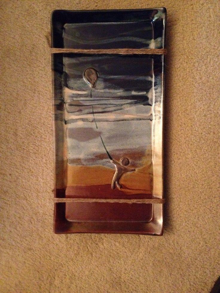Cedar plank Salmon tray. High fired stoneware clay. From the studio of JulieAnne Hage. St. Albert, Alberta, Canada.