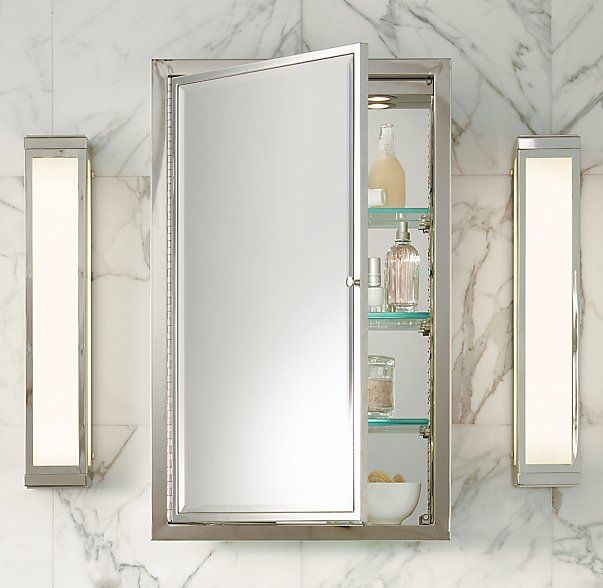 Restoration Hardware - Framed Lit Right-Opening Inset Medicine Cabinet - Love that it's lit!